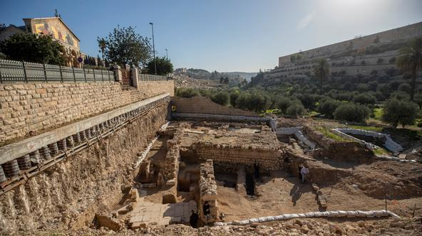 A view shows the remains of a previously unknown church that was founded at the end of the Byzantine period and a 2000-year-old ritual bath discovered at the site dates from the time of Jesus's presence in Jerusalem
