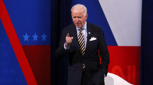 FILE PHOTO: U.S. President Joe Biden participates in a CNN town hall in Milwaukee