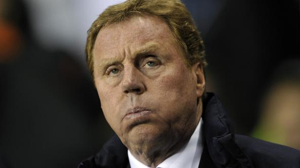 \'Tottenham Hotspur\'s manager Harry Redknapp reacts before their Champions League soccer match against AC Milan at White Hart Lane in London March 9, 2011.    REUTERS/Dylan Martinez (BRITAIN - Tags: