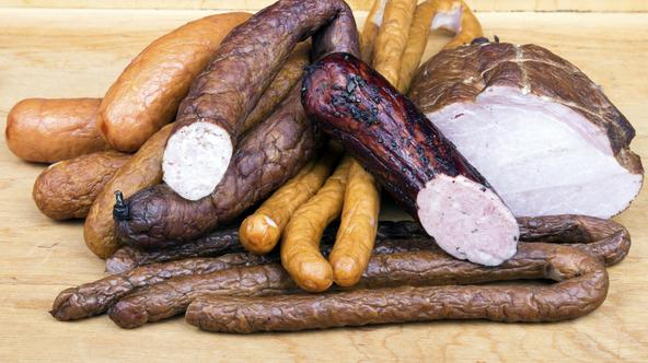 meat products on a wooden table