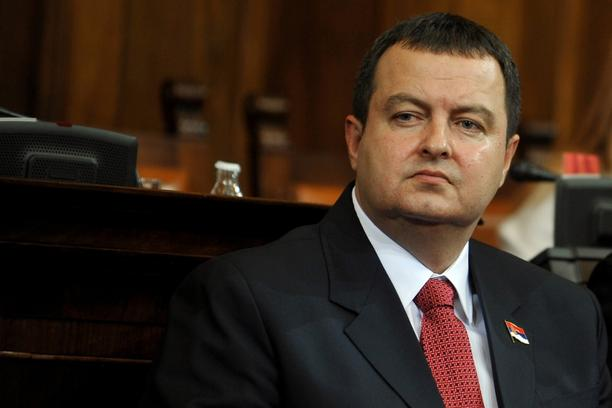 'Prime minister-designate Ivica Dacic looks on at the Serbian National assembly building during of a parliament session in Belgrade on July 26, 2012.   AFP PHOTO / ANDREJ ISAKOVIC'