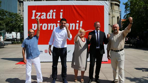 Leaders of Restart coalition pose for a picture Goran Aleksic (SNAGA), Davor Bernardic (SDP), Anka Mrak Taritas (GLAS), Kreso Beljak (HSS) and Silvano Hrelja (HSU) during a news conference in downtown of Zagreb
