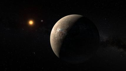 This artist's impression shows the planet Proxima b orbiting the red dwarf star Proxima Centauri, the closest star to the Solar System. The double star Alpha Centauri AB also appears in the image between the planet and Proxima itself. Proxima b is a littl