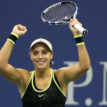 Sep 5, 2016; New York, NY, USA; Ana Konjuh of Croatia celebrates after winning match point against Agnieszka Radwanska of Poland (not pictured) on day eight of the 2016 U.S. Open tennis tournament at USTA Billie Jean King National Tennis Center. Konjuh wo