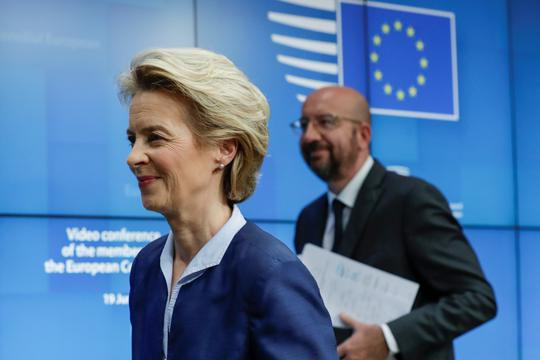 European Commission President Ursula Von Der Leyen and European Council President Charles Michel are seen at the end of a news conference following European summit in video conference format, in Brussels