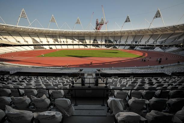 \'The London 2012 Olympics running track is seen following its unveiling in the Olympic Stadium in east London, on October 3, 2011. The 80,000-capacity stadium, situated in London\'s East End, is expe