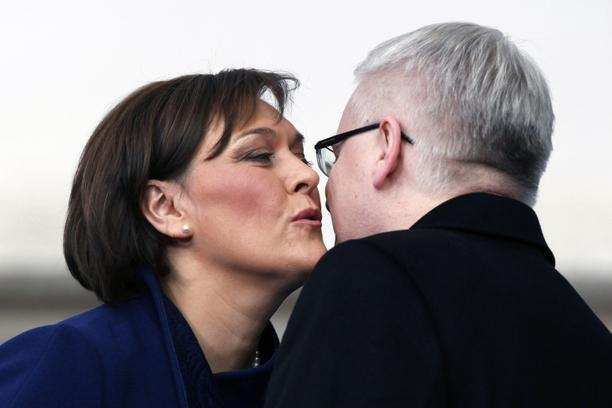 'Leftwing intellectual Ivo Josipovic (R) is kissed by his wife Tatjana Josipovic as he is sworn in as Croatia\'s new president during the inauguration ceremony at Saint Marc\'s square on February 18,