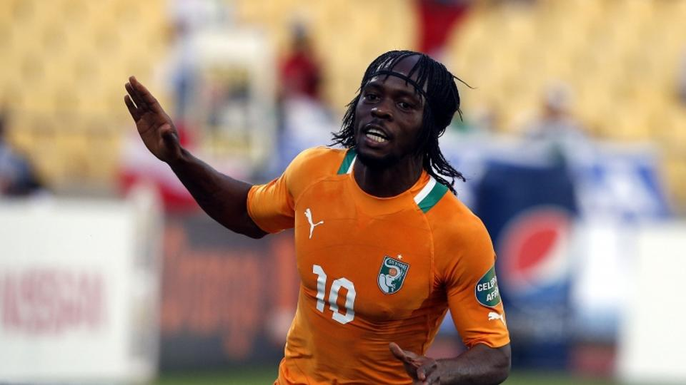 'Ivory Coast\'s Gervinho celebrates his goal against Togo during their African Nations Cup (AFCON 2013) Group D soccer match in Rustenburg, January 22, 2013. REUTERS/Mike Hutchings  (SOUTH AFRICA - Ta