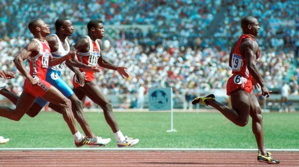 Sprinter Ben Johnson wins the gold medal in the 100m sprint in Seoul in September 1988. Behind him are Calvin Smith, Linford Christie and Carl Lewis. Johnson later lost the medal when he tested positive for steroids. REUTERS/Gary Hershorn  GMH/CMC Reuters