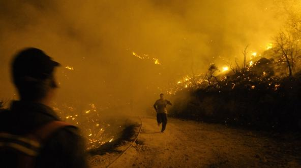\'An Israeli firefighter runs from raging fire in Beit Oren, Carmel Forest, near Israel\'s northern city of Haifa on December 02, 2010. Around 40 people are believed to have been killed in the devasta