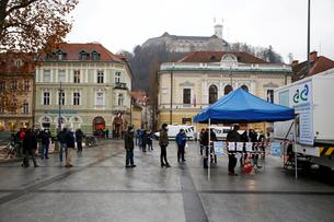FILE PHOTO: Coronavirus disease (COVID-19) mass testing in Ljubljana