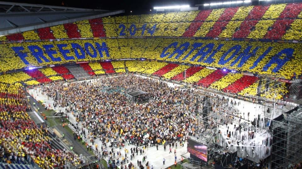 'The crowd is seen during the Concert for Freedom event at Nou Camp stadium, where artists will sing in support of Catalonia's desire for independence from Spain, in Barcelona June 29, 2013. REUTERS/