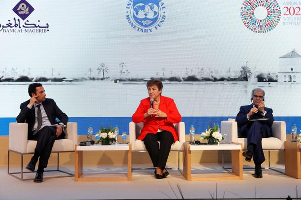 IMF Managing Director Kristalina Georgieva speaks during a news conference in Rabat