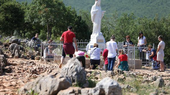 Photo shows site where the Virgin Mary reportedly appeared in an apparition in Medjugorje,