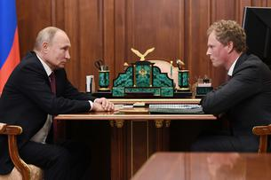 Russian President Putin meets with head of the Federal Taxation Service Egorov in Moscow