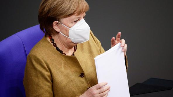 German Chancellor Merkel speaks on government's response to COVID-19 pandemic, in Berlin