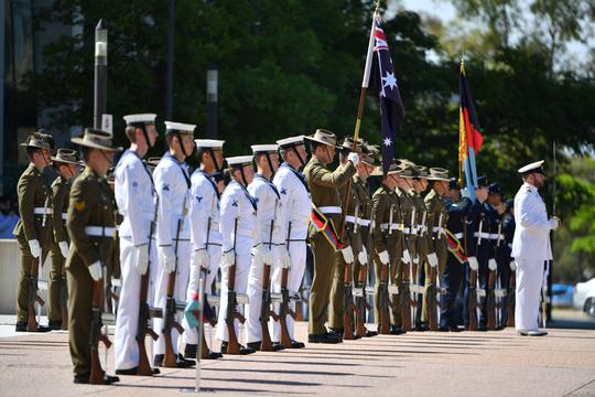 An honour guard is seen at Defence Headquarters in Canberra