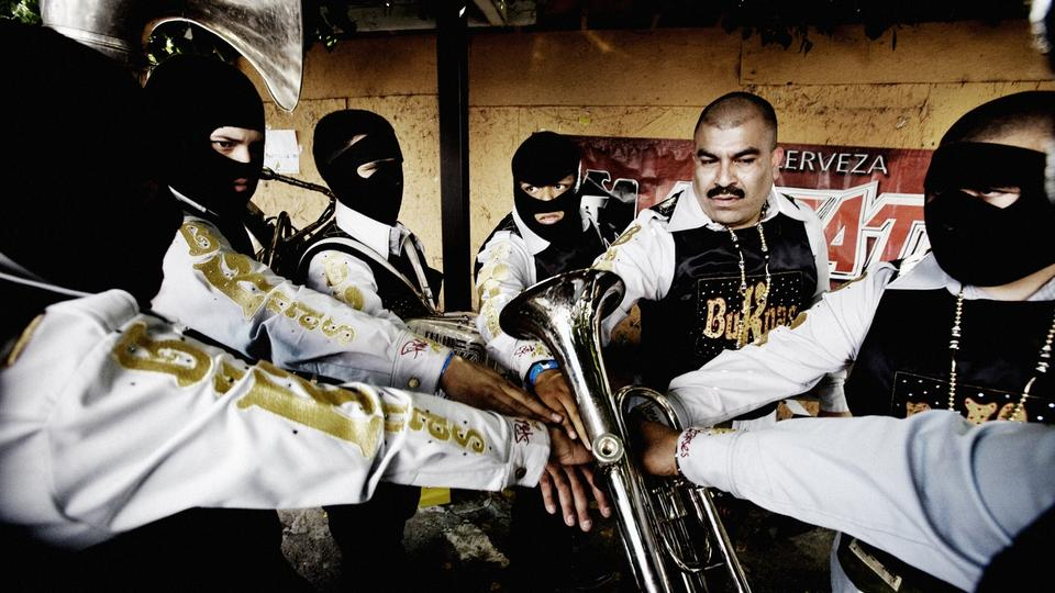 EL MONTE, CA - APRIL 18, 2010: Members of the band Buknas de Culiacan get ready to perform at Rancho Farallon during the launch event of Movimiento Alterado a new form of  Narco Corrido that is getting extremely popular. Narco Music are clubs mushrooming