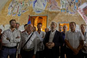 Zdravko Krivokapic speaks to his supporters in front of the Cathedral of the Resurrection of Christ in Podgorica