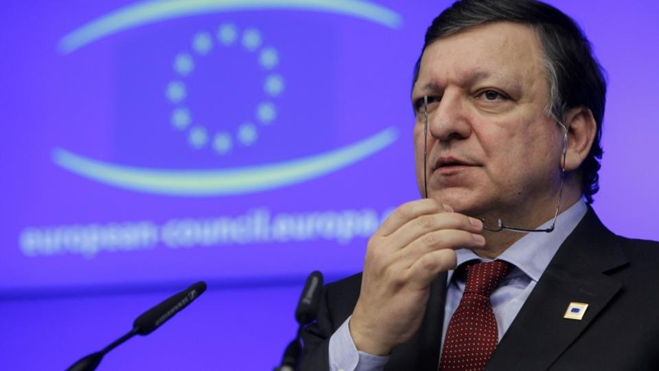 '(120131) -- BRUSSELS, Jan. 31, 2012 () -- European Commission President Jose Manuel Barroso attends the press conference after EU's informal summit at EU headquarters in Brussels, capital of Belgium
