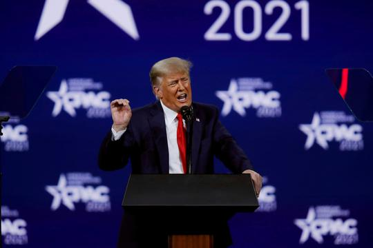 FILE PHOTO: Former U.S. President Donald Trump speaks at the Conservative Political Action Conference in Orlando