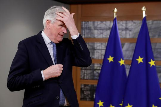 FILE PHOTO: Michel Barnier at the European Council in Brussels