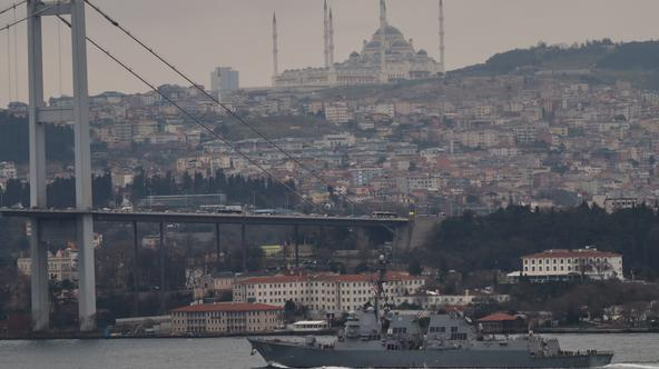 U.S. Navy guided-missile destroyer USS Thomas Hudner (DDG 116) sails in Istanbul's Bosphorus